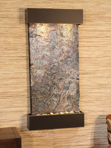 Wall Fountain - Whispering Creek - Green Slate - Blackened Copper - wcs1502
