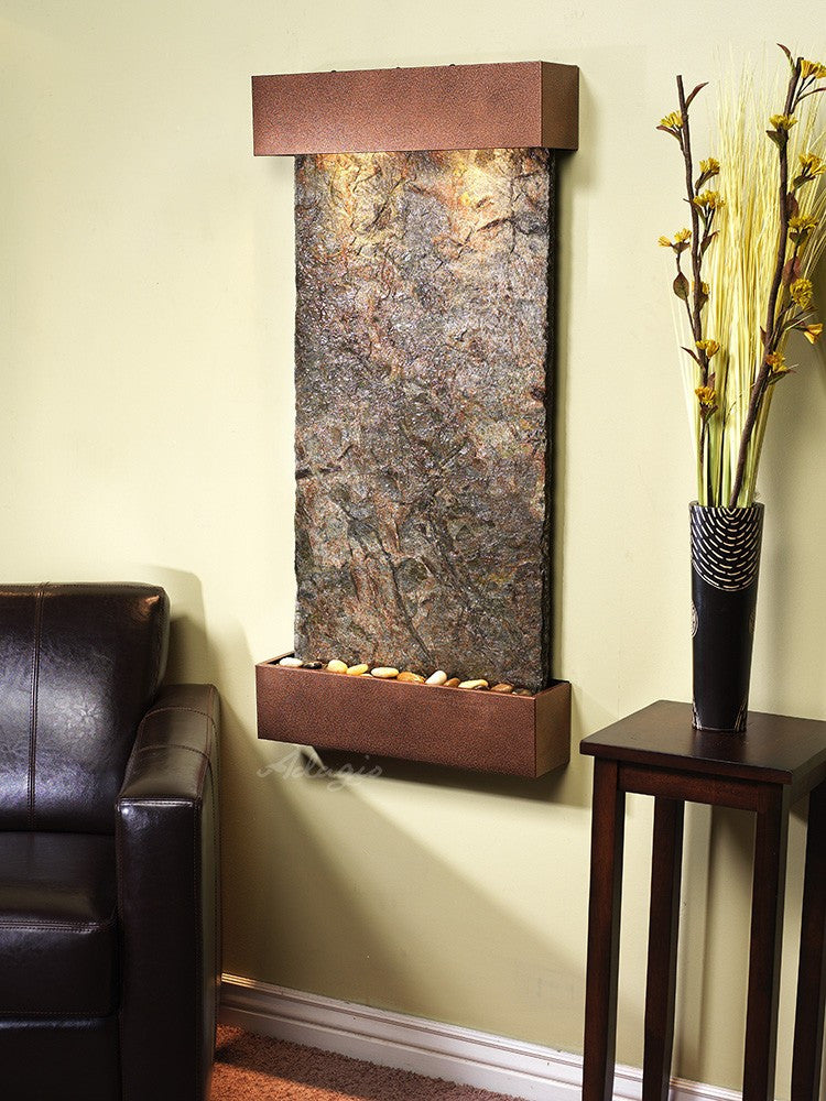 Wall Fountain - Whispering Creek - Green Slate - Copper Vein - wcs5002