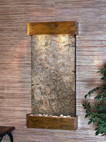 Wall Fountain - Whispering Creek - Green Slate - Rustic Copper - wcs1002