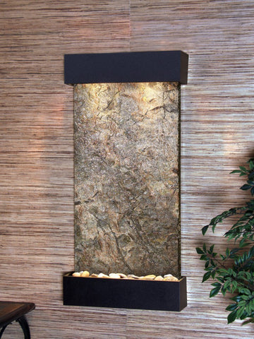 Wall Fountain - Whispering Creek - Green Slate - Textured Black - wcs1702