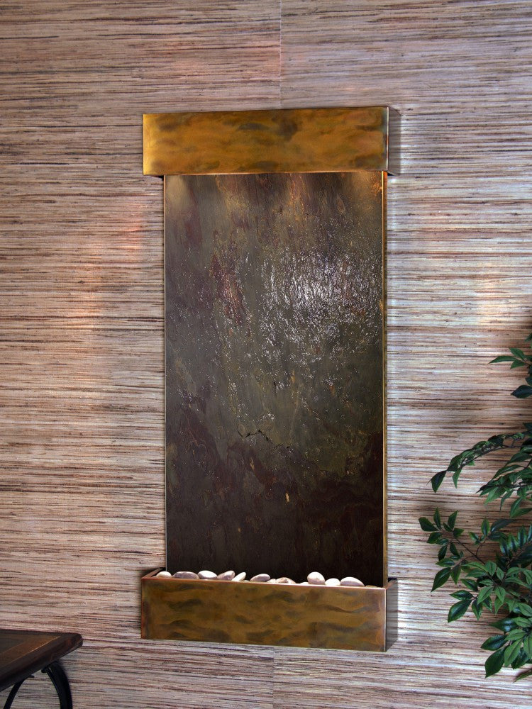 Wall Fountain - Whispering Creek - Multi-Color FeatherStone - Rustic Copper - wcs1014