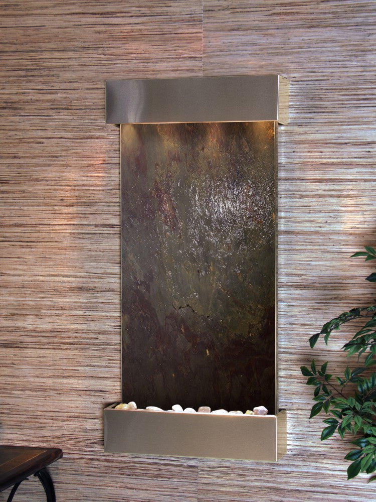Wall Fountain - Whispering Creek - Multi-Color FeatherStone - Stainless Steel - wcs2014