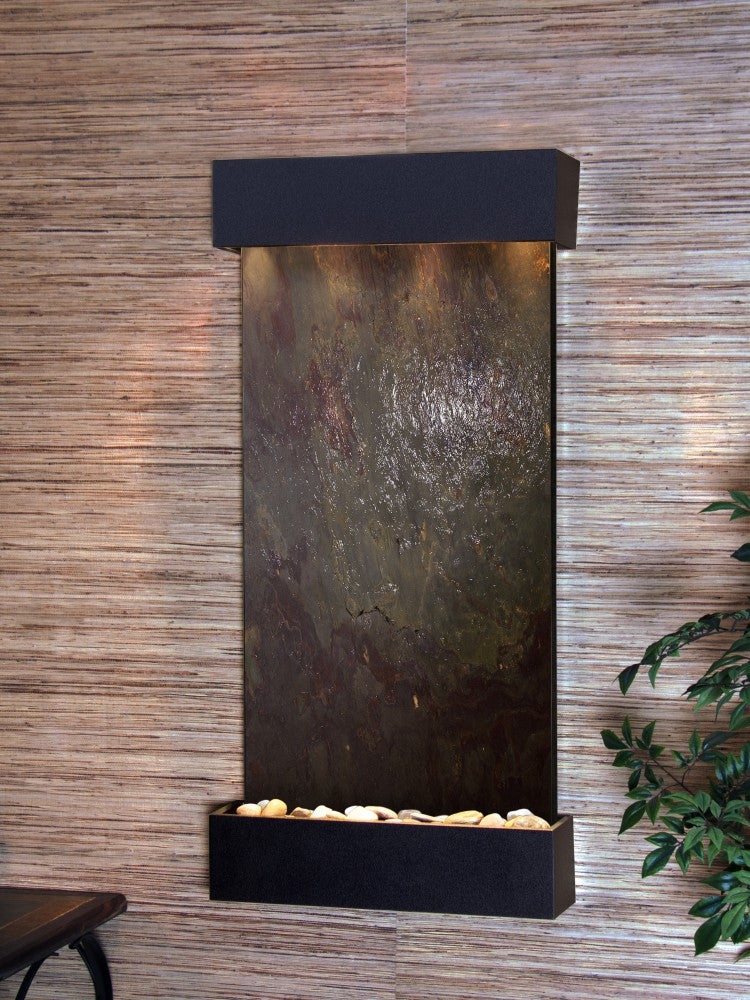 Wall Fountain - Whispering Creek - Multi-Color FeatherStone - Textured Black - wcs1714