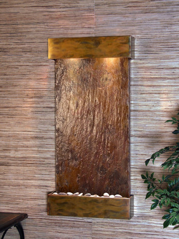 Wall Fountain - Whispering Creek - Multi-Color Slate - Rustic Copper - wcs1004
