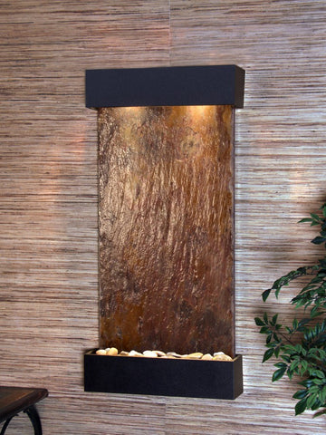 Wall Fountain - Whispering Creek - Multi-Color Slate - Textured Black - wcs1704