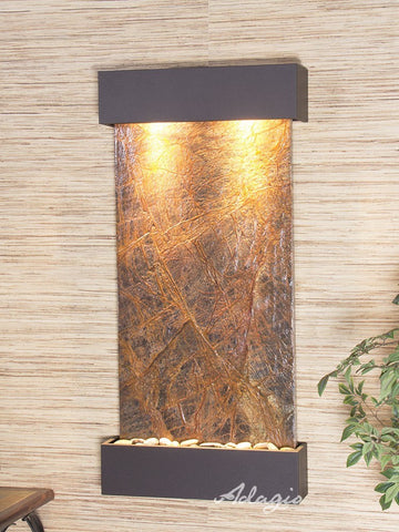 Wall Fountain - Whispering Creek - Rainforest Brown Marble - Antique Bronze - wcs3506