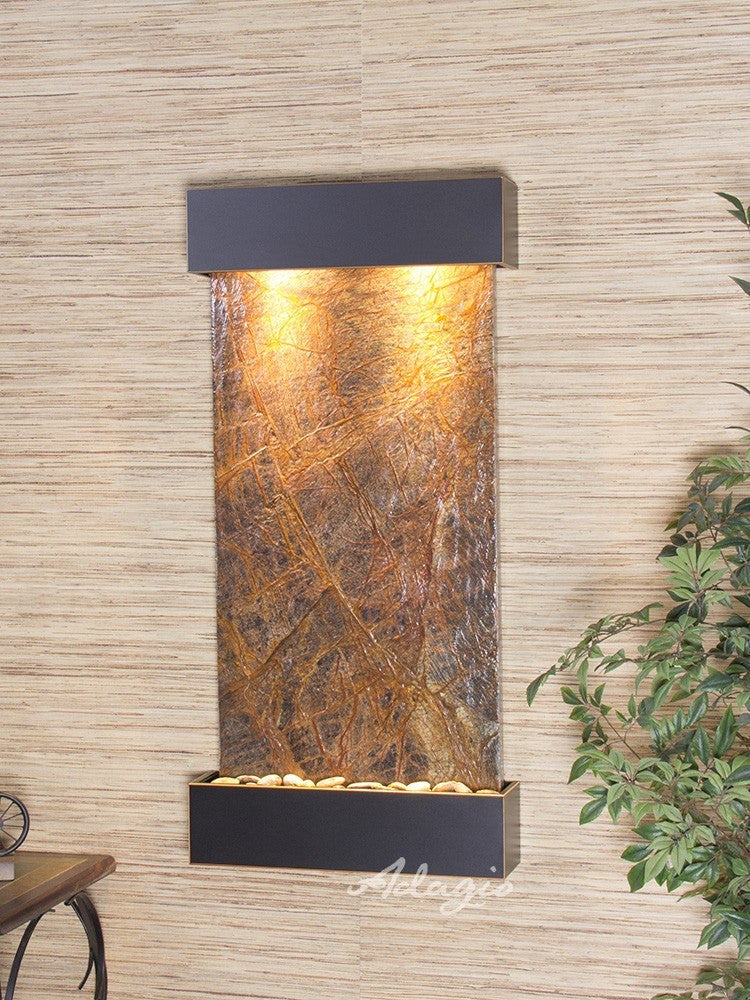 Wall Fountain - Whispering Creek - Rainforest Brown Marble - Blackened Copper - wcs1506