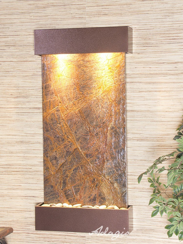 Wall Fountain - Whispering Creek - Rainforest Brown Marble - Copper Vein - wcs5006