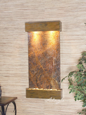 Wall Fountain - Whispering Creek - Rainforest Brown Marble - Rustic Copper - wcs1006