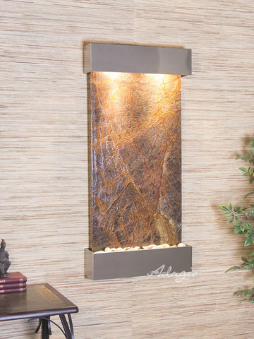 Wall Fountain - Whispering Creek - Rainforest Brown Marble - Stainless Steel - wcs2006