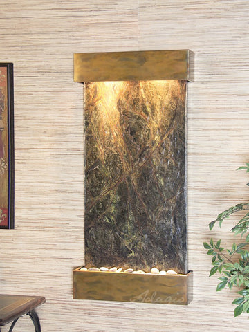 Wall Fountain - Whispering Creek - Rainforest Green Marble - Rustic Copper- wcs1005
