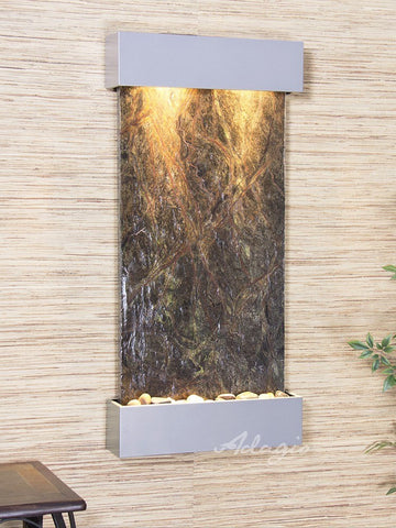 Wall Fountain - Whispering Creek - Rainforest Green Marble - Silver Metallic - wcs4505