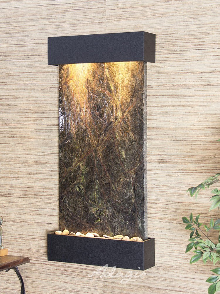 Wall Fountain - Whispering Creek - Rainforest Green Marble - Textured Black - wcs1705