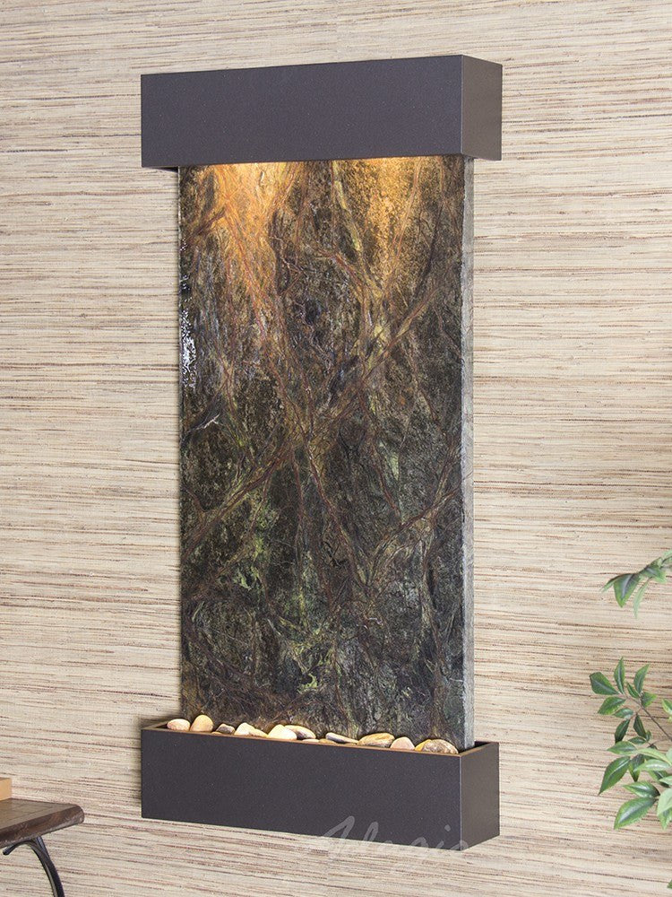 Wall Fountain - Whispering Creek - Rainforest Green Marble - Textured Black - wcs3505
