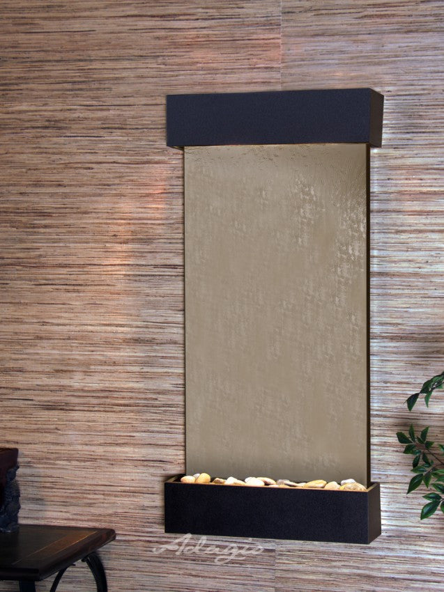 Wall Fountain - Whispering Creek - Silver Mirror - Textured Black -  wcs17412