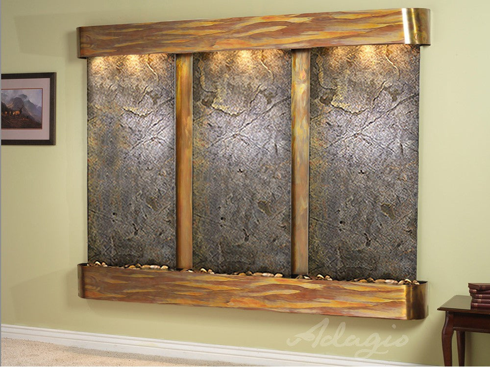 Wall Fountain Deep Creek - Green FeatherStone - Rustic Copper - Rounded  - dcr1012_1