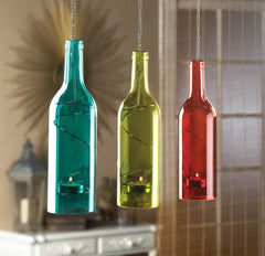 Blue Bottle Hanging Candle Holder