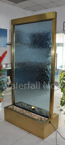 "78"" Gold Electroplated Stainless Trim Water Wall - Blue Glass - GPBG78FF"