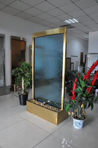 6.5 Feet Tall Floor Fountain Gold Electroplated Blue Glass - GPBG78FF