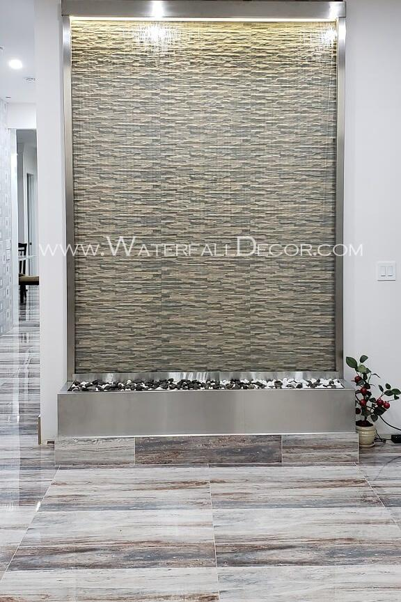 6x9 Brushed Stainless Steel Water Wall - Clear Tempered Glass - Rear Mounted