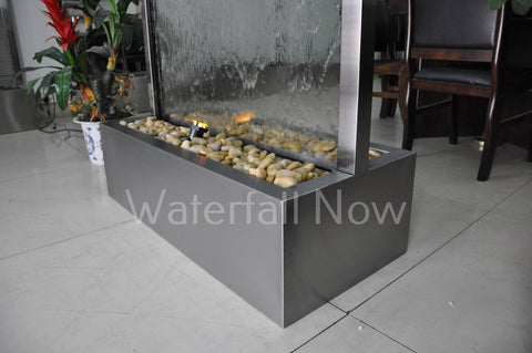 "78"" Brushed Stainless Steel (Darkened) Clear Glass Water Wall - BSCG78FF"
