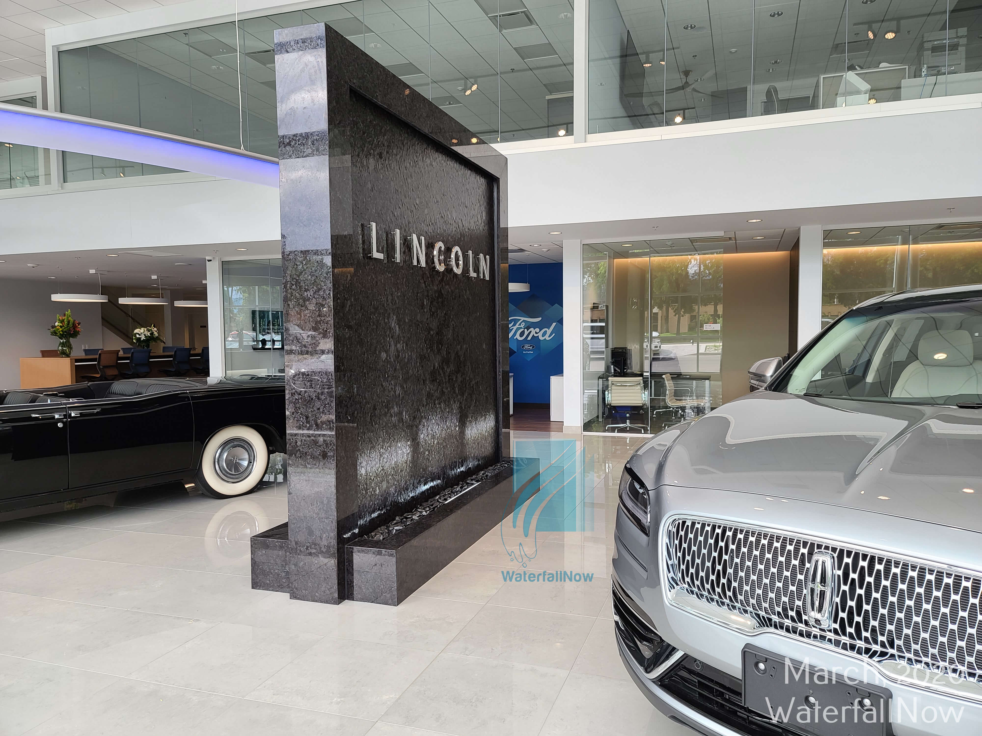 ford lincoln car dealership custom water feature waterwall fountain