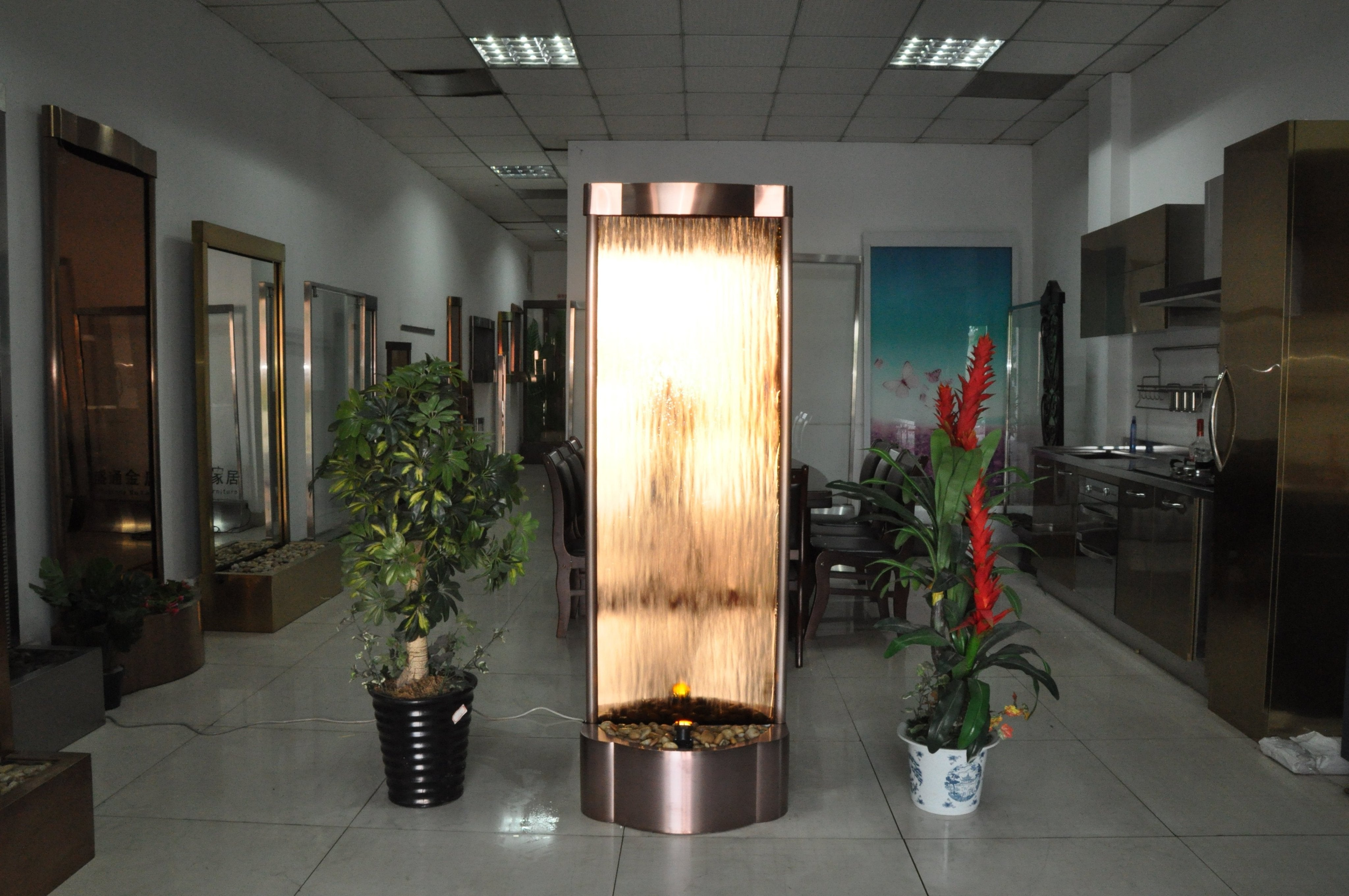 6 Foot Tall | Metal Floor Fountain | Copper Trim Finish Copper Glass