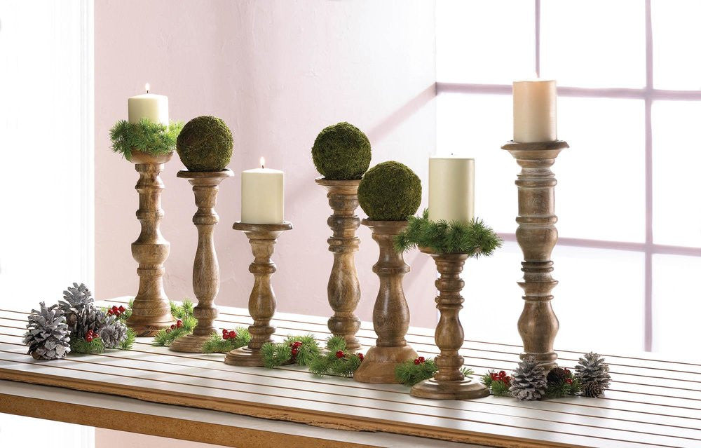 Countryside Turned Wood Candle Holder