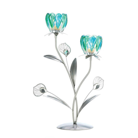 Double Peacock Bloom Candle Holder