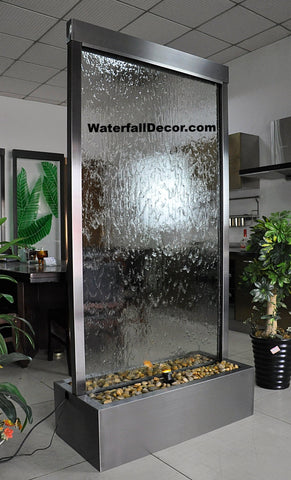 6.5 Feet Tall Floor Fountain Black Electroplated Titanium Clear Glass - BTCG78FF