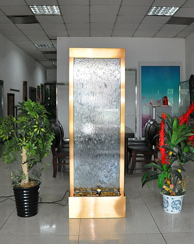 6 Foot Tall | Metal Floor Fountain | Gold Trim Clear Glass
