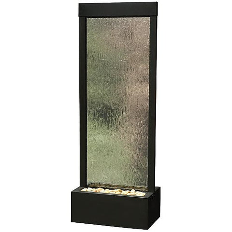 "4 Ft Floor Fountain Clear Tempered Glass with Black Onyx Colored Frame 18"" W x 48"" H x 12"" D - GF42B"