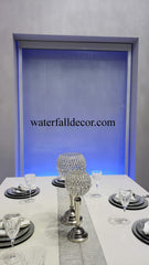 8 Feet Tall 5 Feet Wide White Trim Clear Tempered Glass Waterfall