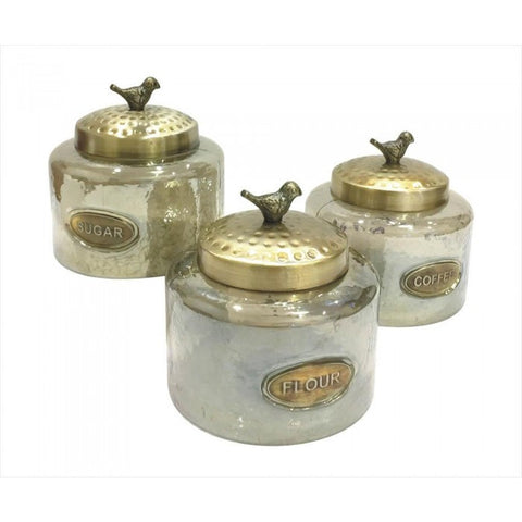 Hammered Glass Kitchen Jar Trio