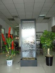 6 Foot Tall | Metal Floor Fountain | Black Powder Coated Clear Glass