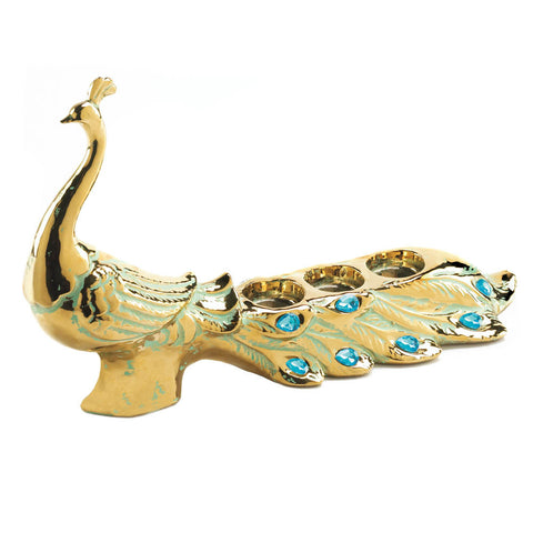 Jeweled Peacock Candle Holder
