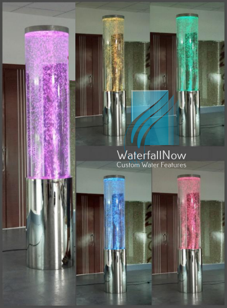 LED Bubble Column Fountain - Mirror Stainless Steel - sbwc220m