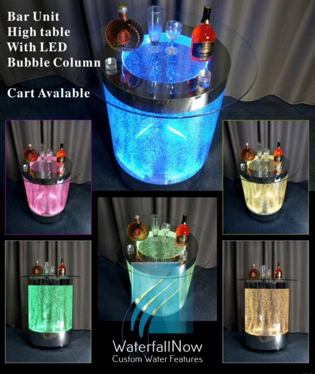 LED Bubble Column Mini Table - Wheeled - bwcc704s