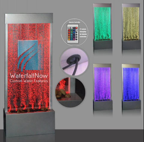 LED Bubble Wall - Free Standing - Brushed Stainless Trim - bwfss803