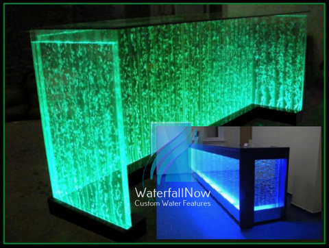 LED Bubble Wall Reception Desk - Tempered Glass Counter -  rbwa2100b