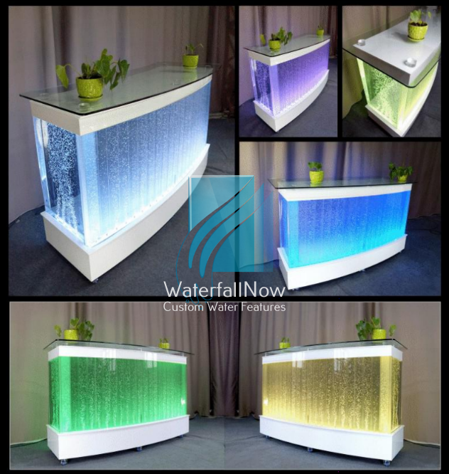 LED Curved Acrylic Bubble Reception Counter - Wheeled - rbwa2110w