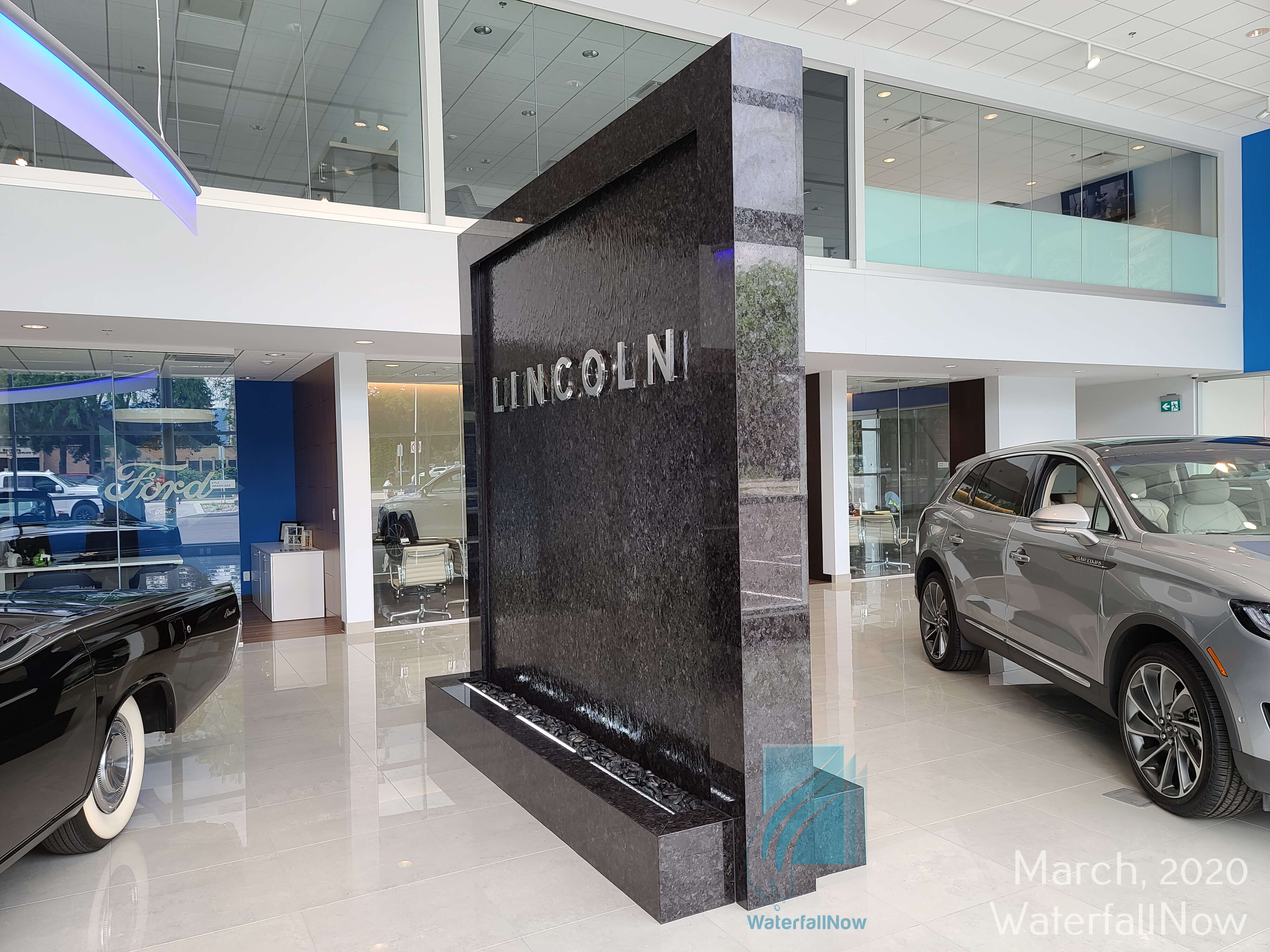 car dealership custom waterfall