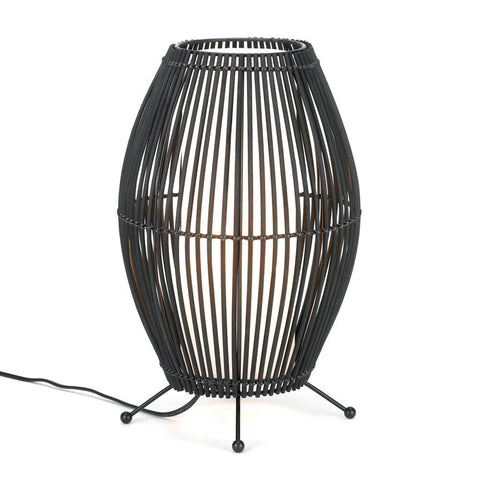Black Metal Slat Convex Lamp