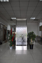 7.5 Foot Indoor Floor Fountain Stainless Steel Clear Glass - BSCG90FF