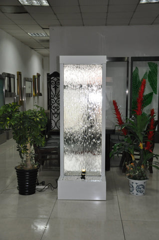 6 Foot Tall | Metal Floor Fountain | White Powder Coated Frame With Mirror Glass - WPCMG72FF