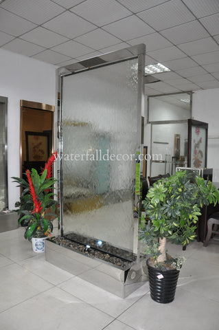 8 Foot Indoor Floor Fountain Silver Mirror Trim Clear Glass - SMTCF96FF