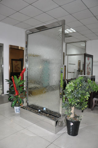8 Foot Mirror Metal Trim Clear Glass Partition Floor Waterfall