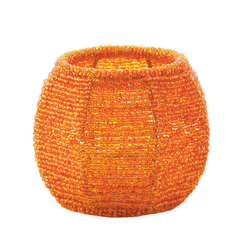 Orange Beaded Candle Holder