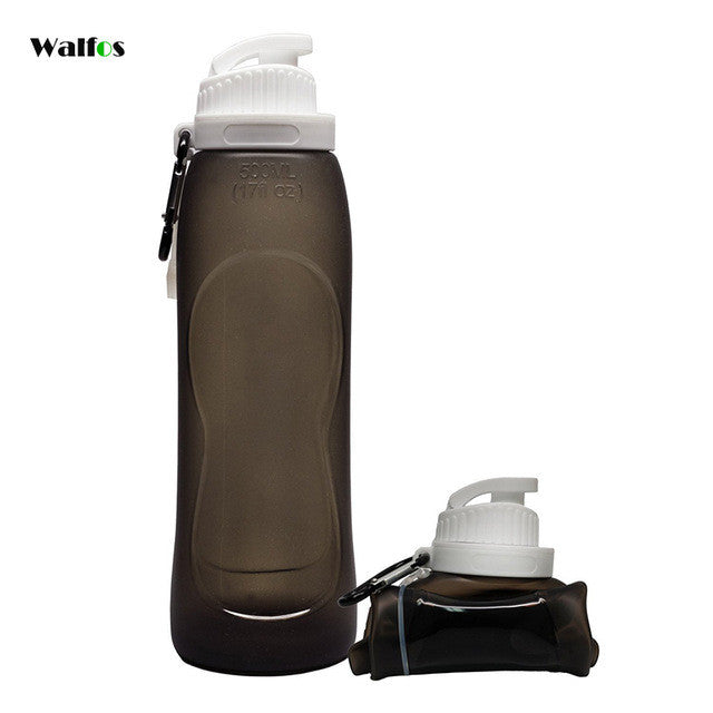 WALFOS 500ML Creative Collapsible Foldable Silicone drink Sport Water Bottle Camping Travel my plastic bicycle bottle