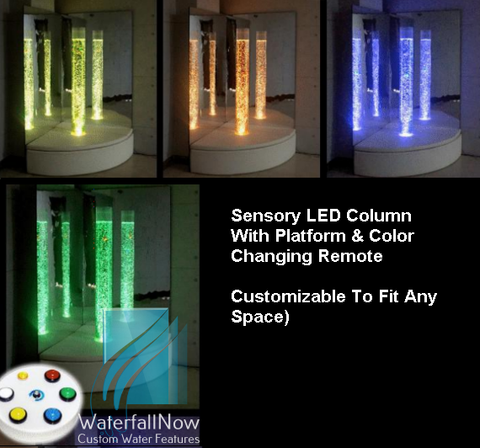 Sensory LED Bubble Columns - Button Remote - Mirror Corner - cbw205m